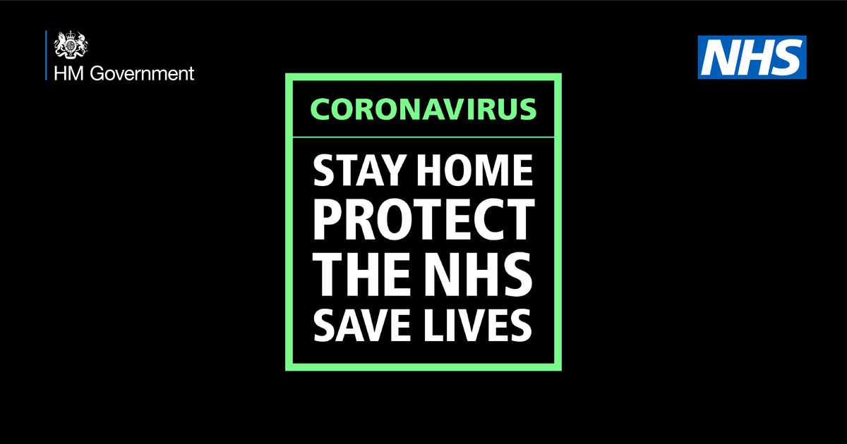 Public Health England Coronnavirus poster: Stay Home, Protect the NHS, Save Lives