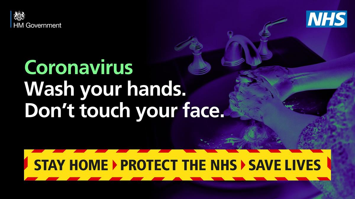 Coronavirus Poster: Wash your hands and protect others. Stay Home, Protect the NHS, Save Lives