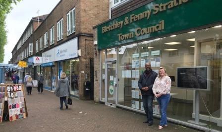 Cllr Kennedy and Graham outside the Town Council Office, Queensway.