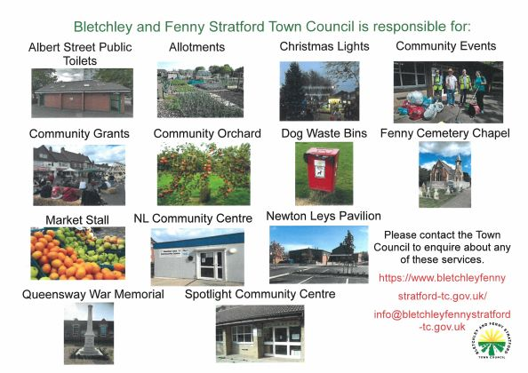 'What Bletchley and Fenny Stratford Town Council is responsible for' poster