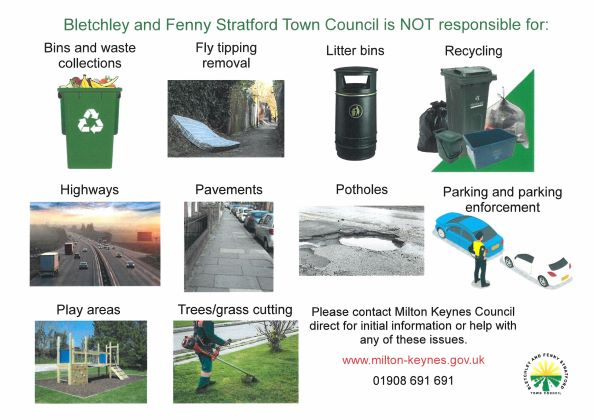 'What Bletchley and Fenny Stratford Town Council is not responsible for' poster
