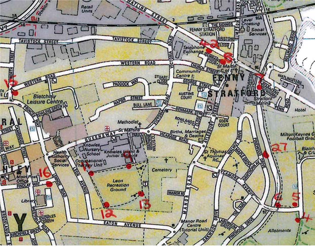 Map of Fenny Stratford with Dog Bins