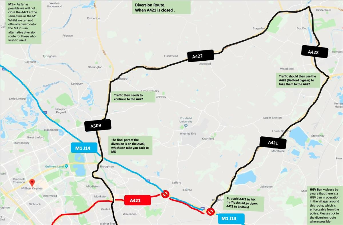 Image of diversion route for A421 closure