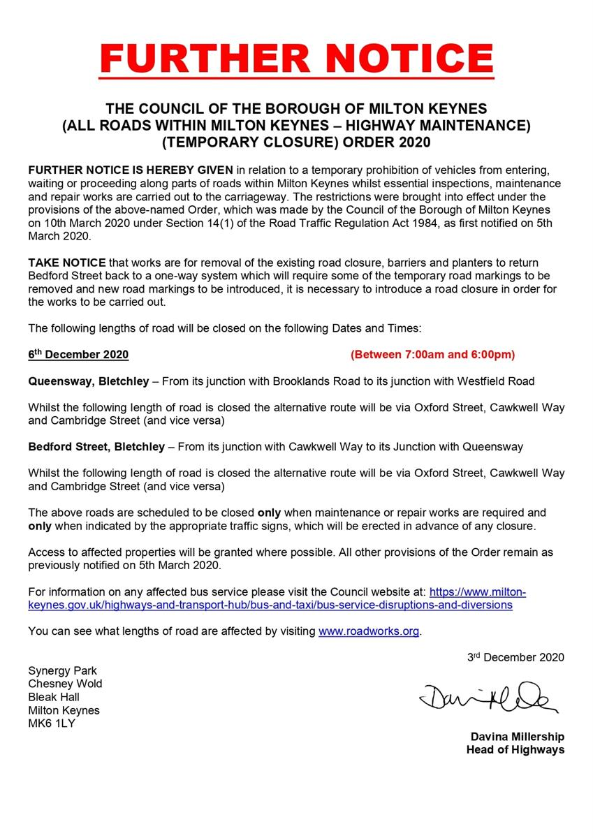 Image of Further Notice for Queensway and Bedford Street