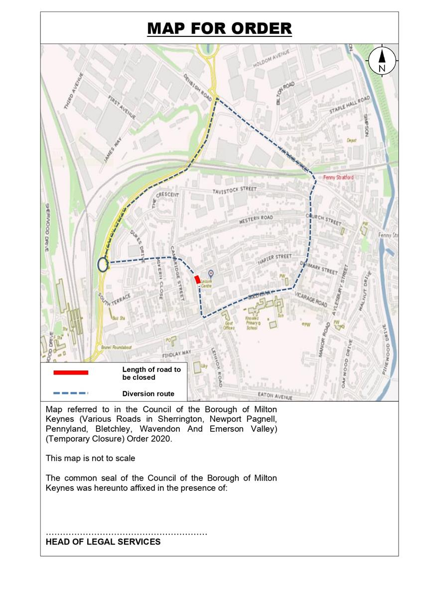 Image of diversion route for Princes Way closure