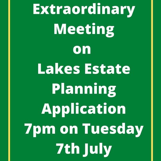Image stating Extraordinary Meeting to be held on Tuesday 7th July at 7pm