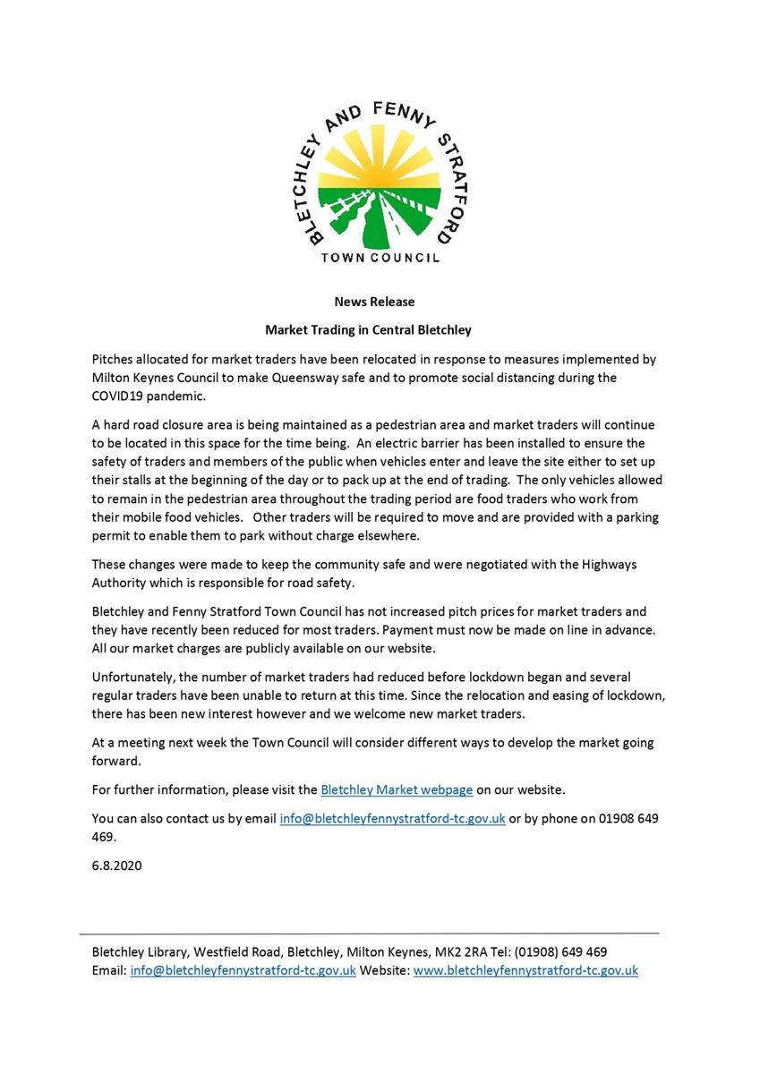 News release for Bletchley market