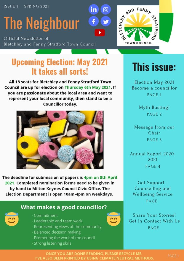 Image of front page of March newsletter
